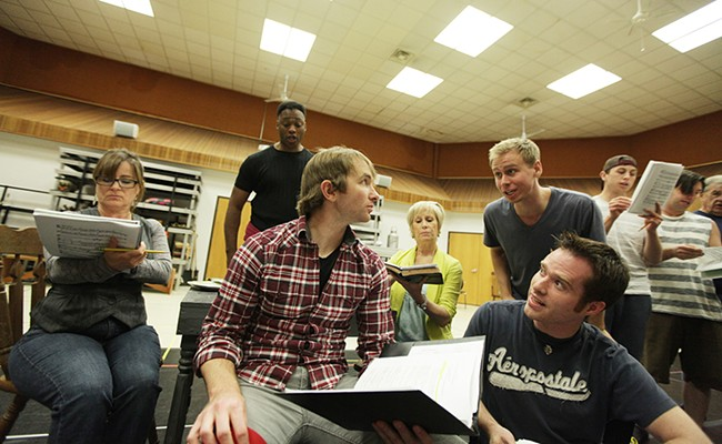 """A Coeur d'Alene Summer Theatre rehearsal for """"Big River"""" at North Idaho College's Boswell Hall in May. - YOUNG KWAK"""