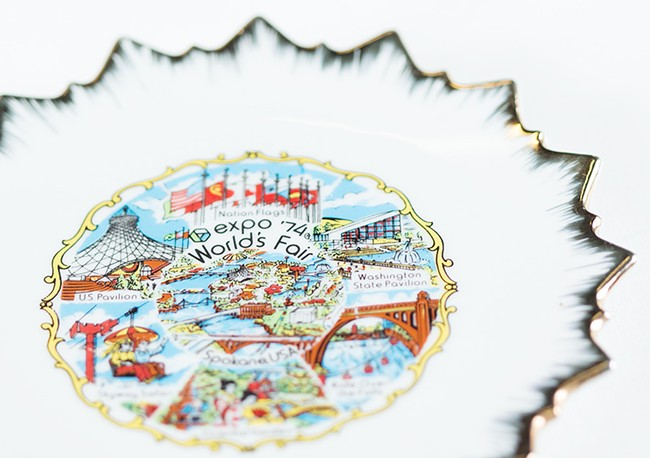 A commemorative plate featuring Expo attractions. It cost $1.95, according to the Expo price tag still on the back. - YOUNG KWAK