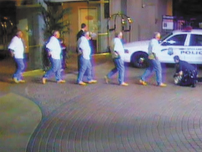 A composite of frames from video captured of the 2008 arrest of Charles Potter.