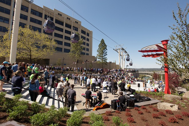 A dedication at the plaza when Huntington park reopened on May 2. - YOUNG KWAK
