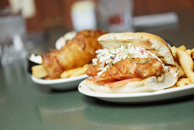 A fish sandwich and an order of Guinness Fish and Chips at O'Doherty's Irish Grille. - YOUNG KWAK