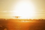 A Horizon Air Bombardier Dash 8 Q400 takes off from Spokane International Airport on Nov. 22.