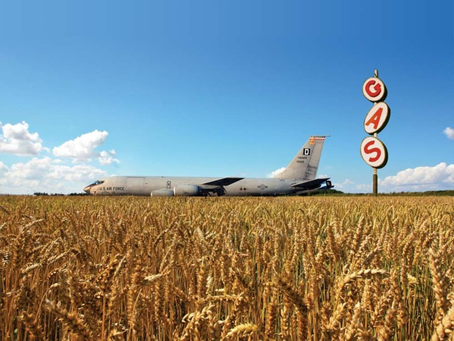 A KC-135 fuels up in a wheat field - ILLUSTRATION BY CHRIS BOVEY