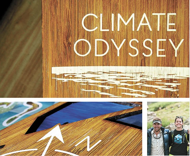 A mockup of the proposed Climate Odyssey book (above and bottom left) by Zion Kols and Lucy Holtsnider (bottom right).
