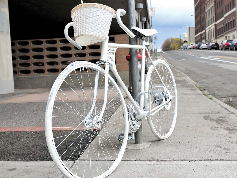 A newly placed ghost bike at Fourth and Lincoln. - AMY HUNTER