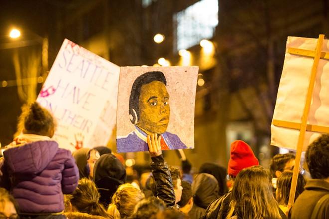 A rally last night in Seattle. - TIFFANY VON ARNIM