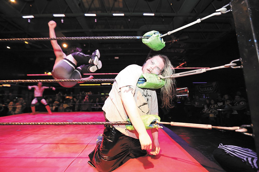 A real ring and indoor venue added a new level of professionalism to Spokane Anarchy Wrestling — and more ways to inflict damage. - YOUNG KWAK