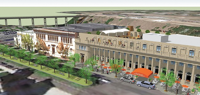 A rendering of proposed changes to the Masonic Center. - POWERHANDLING RENDERING