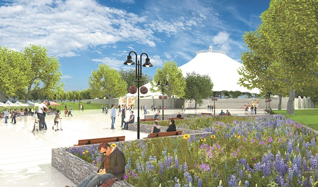 "A rendering shows one potential look for a new ""central plaza"" around the U.S. Pavilion in Riverfront Park."