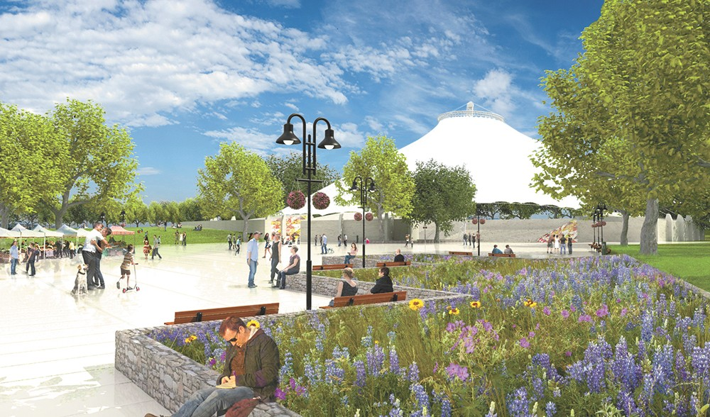 """A rendering shows one potential look for a new """"central plaza"""" around the U.S. Pavilion in Riverfront Park."""