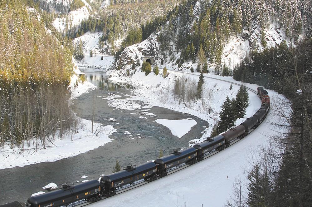 A train shipping oil through Montana.