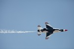 A U.S. Air Force Thunderbirds Air Demonstration Squadron F-16 makes a pass.