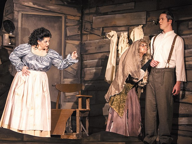 Abbey Crawford (left), Micah Lynn (center) and Daniel Bell are all part of Lake City\'s stunning Sweeney Todd cast. - SCOTT JOHNSON