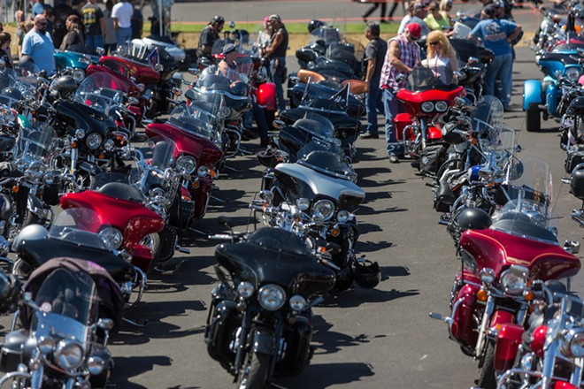 About 170 riders took part in the final ride of the Pacific Northwest HOG Rally at Lone Wolf Harley Davidson. - MATT WEIGAND
