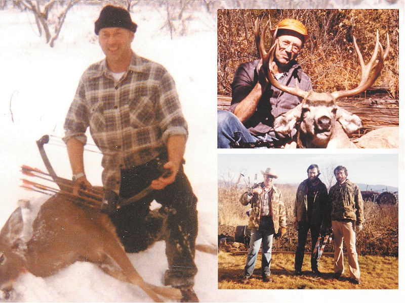 "Above left: Tracy Walters. Top right: Tracy Walters, killer of a massive deer. Bottom right: Tracy Walters, Mark ""Moto"" Walters and local attorney Steve Jones on a bow-hunting trip."