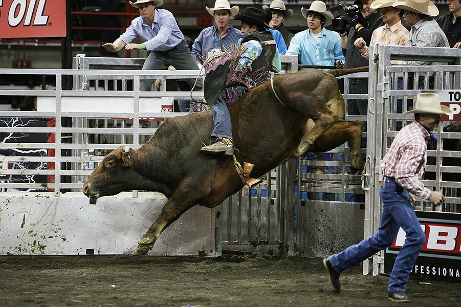 Alex Maves, of Coeur d'Alene, Idaho, rides 904 Juicy Fruit during Flight 1. He rode 2.23 seconds before falling off the bull. - YOUNG KWAK