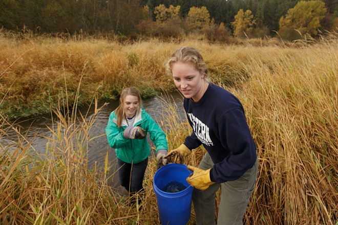 Aly Lamantia, left, hands a bucket of water to Amber Wichtendahl. - YOUNG KWAK