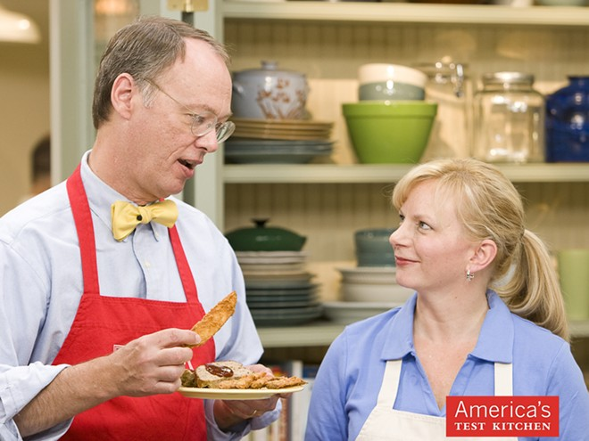 America's Test Kitchen features classic dishes; folksy, bow-tie-wearing characters; equipment reviews; and taste-test challenges.