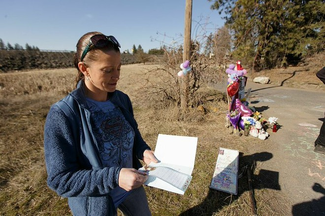 Amy Bender, Meier's sister, at the accident site. - YOUNG KWAK PHOTO