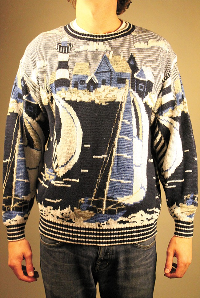 "An actual sweater available on the site: ""If you like sailing and sweaters then this piece is for you."""
