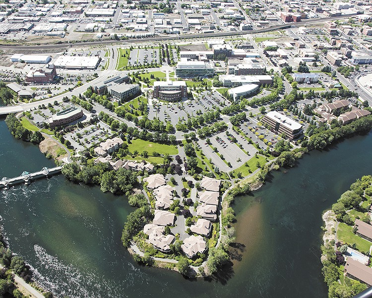 An aerial view of the WSU-Spokane Riverpoint Campus. Thanks to years of public investment in new health sciences facilities, WSU says it will not need any new buildings to launch a medical school. - ISAACSON AERIAL/WSU-SPOKANE