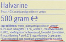 An example of a European margarine labelthat indicates genetically modified ingredients.