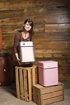 Angie Dierdorff of Sun People Dry Goods with Austin air filtration systems. - STEPHEN SCHLANGE
