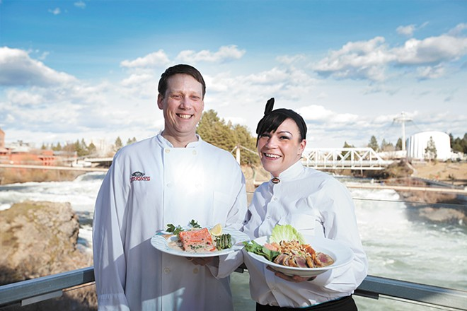 Anthony's General Manager Andrew Miller and Server Alicia Campbell. - YOUNG KWAK