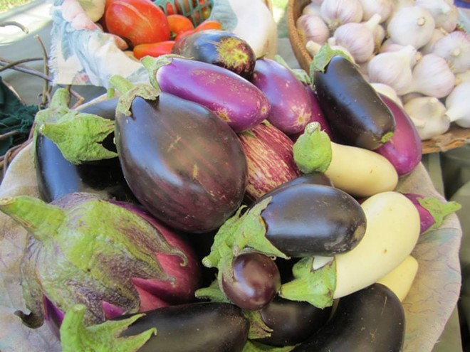 Fresh eggplant from Tolstoy Farms, a vendor at the weekly Spokane Farmers Market. - SPOKANE FARMERS MARKET FACEBOOK