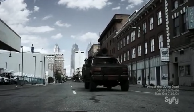 "Survivors flee ""Philadelphia"" (with digitally added buildings). - SYFY"