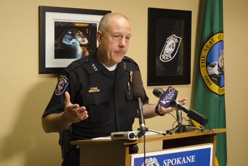 Police Chief Frank Straub addresses reporters Monday. - JACOB JONES