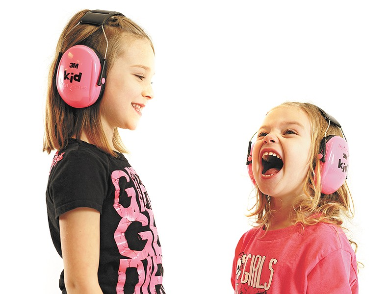 Ava, 5, and her sister Aubrey, 2, put their hot pink Peltor earmuffs to good use. - YOUNG KWAK