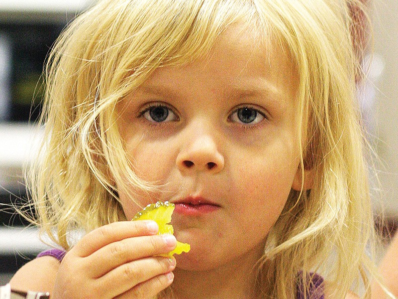 Ava enjoys lunch at Ramsey Elementary School in Coeur d'Alene - YOUNG KWAK
