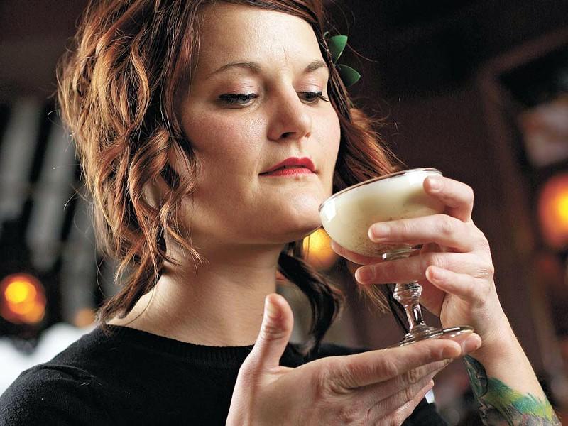 Bar Manager Kelli Green and a glass of eggnog at Bon Bon - YOUNG KWAK