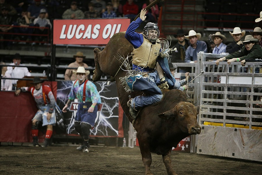 Bryan Carter, of Pendleton, Ore., prepares his bull 905 Hell No during Flight 4 on Saturday. He rode 3.02 seconds before falling off the bull. - YOUNG KWAK