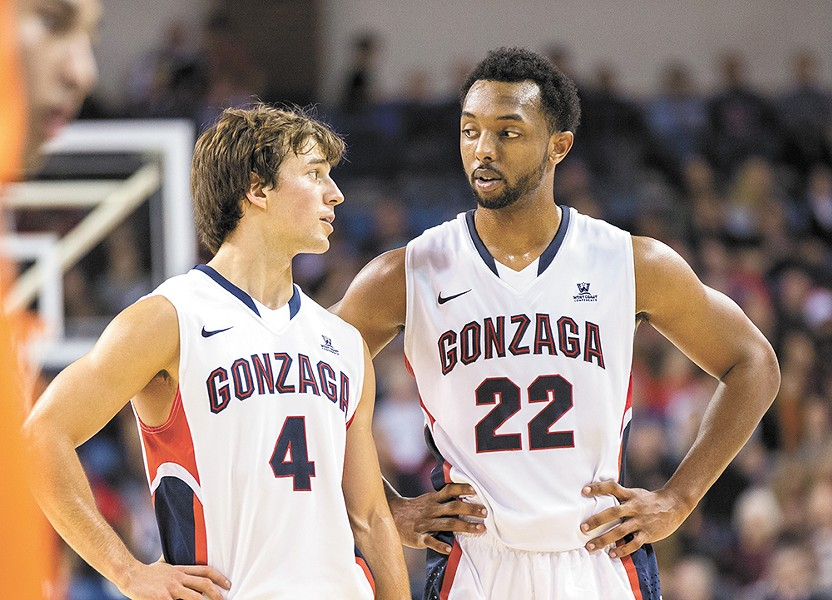Byron Wesley (here with fellow senior Kevin Pangos) has proven a valuable addition to this year's wildly talented Zag team. - RYAN SULLIVAN