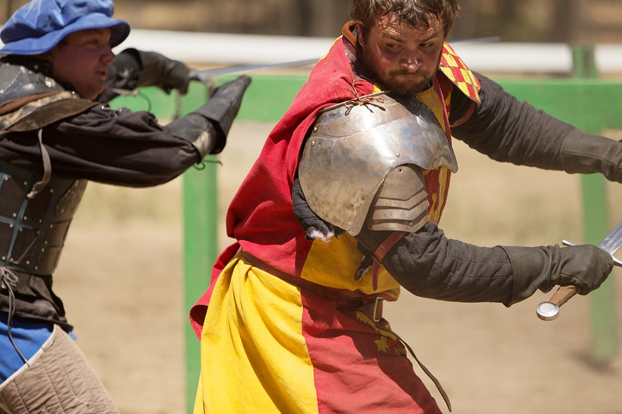 Carson Hentges (Sir Digby Simkins), left, and Tieg Thornton (Sir Jude Llewellyn) fight after a joust. - YOUNG KWAK