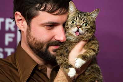 """Bub and her owner, aka her """"Dude,"""" Mike Bridavsky. - MICHAEL STEWART/WIRE IMAGE"""