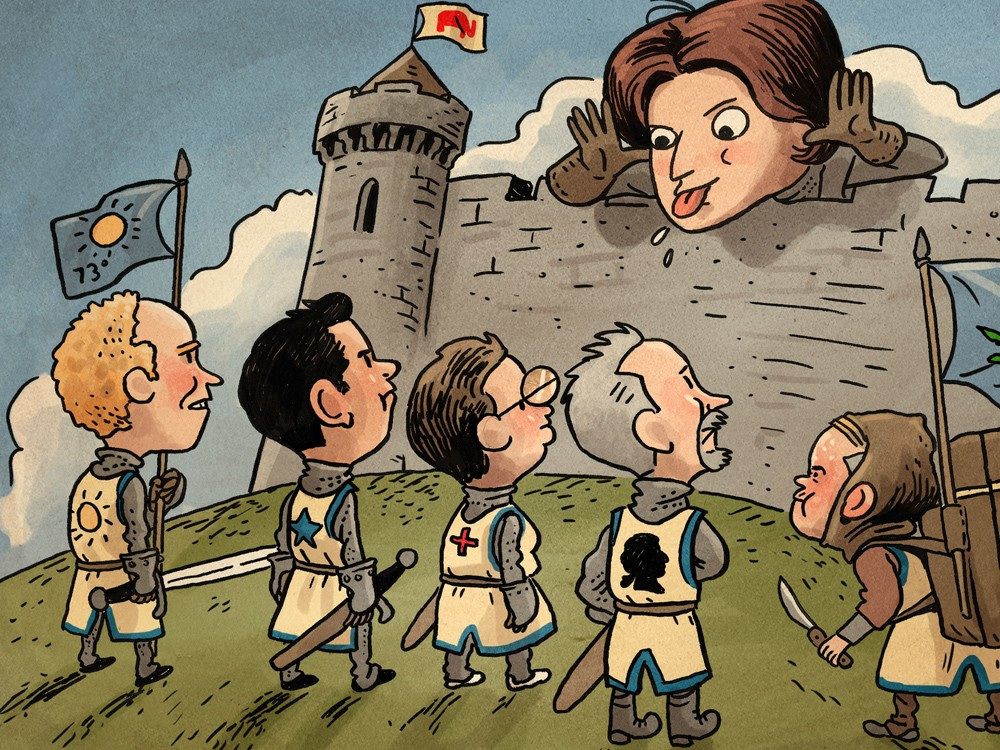 Cathy McMorris Rodgers defends her position from crusaders - ILLUSTRATION: JIM CAMPBELL