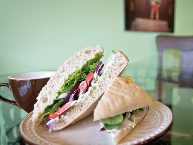 Chairs Coffee's veggie sandwich with hummus and tzatziki. - AMY HUNTER