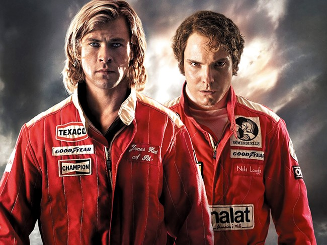 Chris Hemsworth (left) and Daniel Bruhl thankfully don\'t have to race against Ricky Bobby.