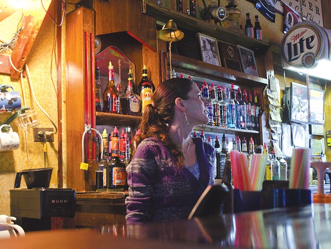 """Christina Axtman, a part-time bartender at the Outlaw Tavern: \""""The mine keeps Mullan alive.\"""" - JACOB JONES"""