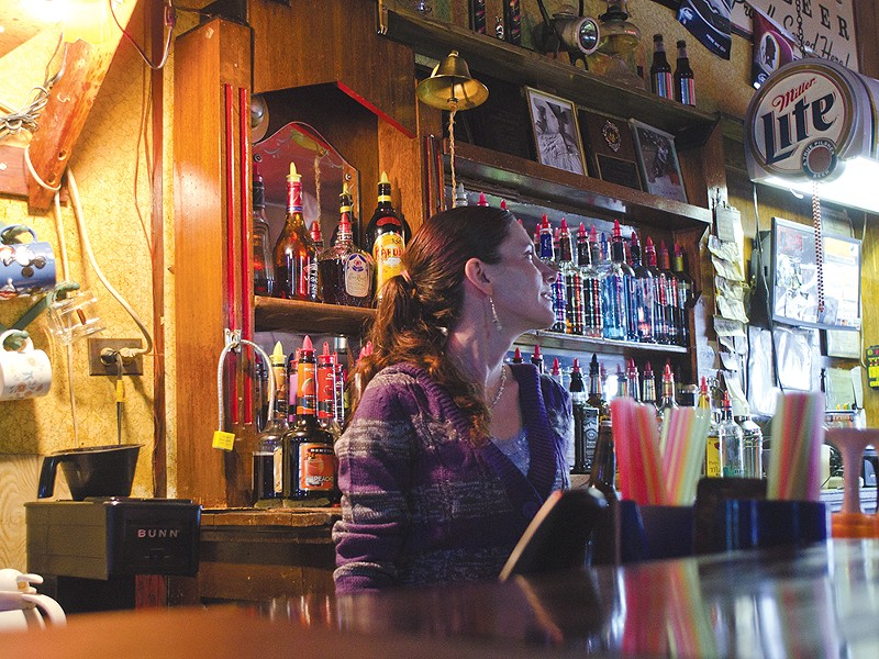 "Christina Axtman, a part-time bartender at the Outlaw Tavern: ""The mine keeps Mullan alive.\"" - JACOB JONES"