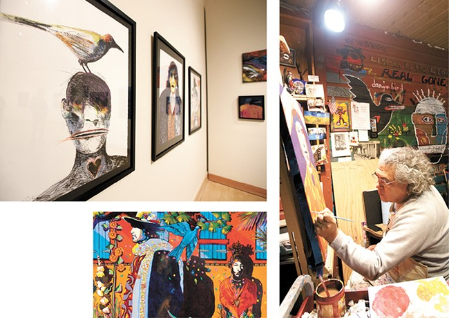 "Clockwise from left: Gendron's exhibit at the Jundt; the artist in his studio; and his ""Romance Durango."" - YOUNG KWAK"