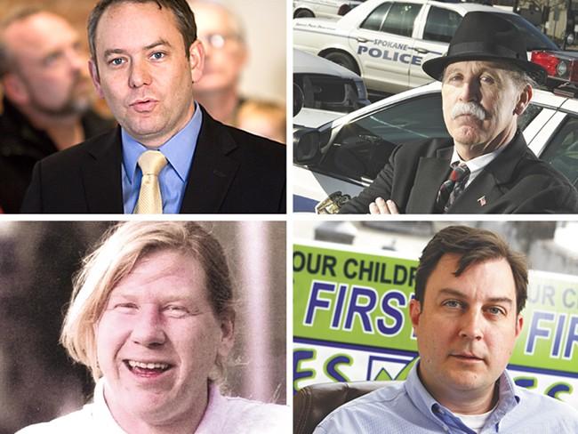 Clockwise, from top left: Mayor David Condon, Ombudsman Tim Burns, Council President Ben Stuckart and Otto Zehm.