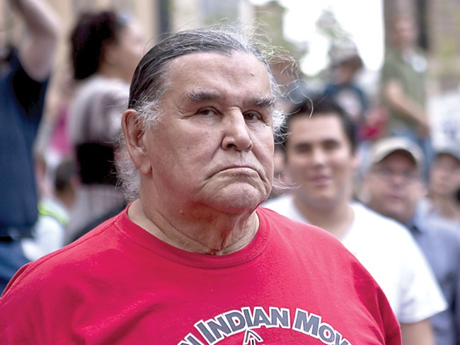 Clyde Bellecourt at an Occupy Minnesota protest in Minneapolis in October - KATHY EASTHAGEN