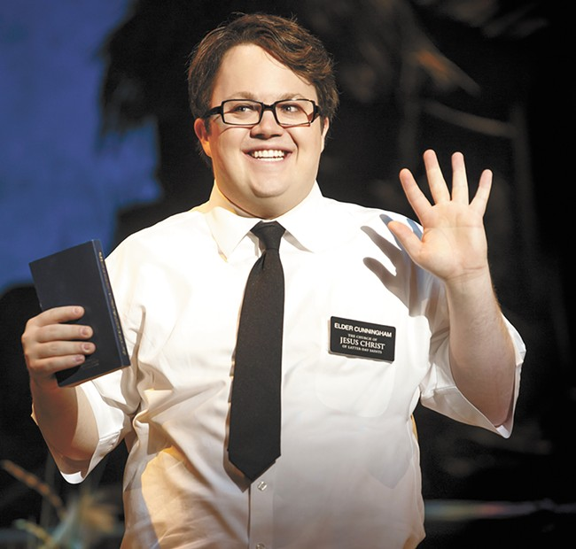 Cody Jamison Strand as Elder Cunningham in The Book of Mormon. - JOAN MARCUS