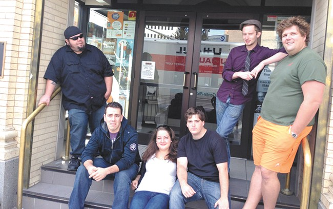 Comics appearing at Spokane Laugh Off: (from left)  Will Seagrim, Steven Tye, Mattie Sobotka, Tom Meisfjord and Michael Glatzmaier.