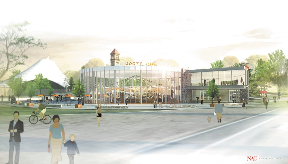 Conceptual drawings by NAC Architecture illustrate possible upgrades to the Looff Carrousel.