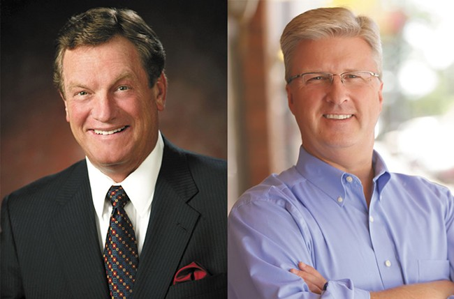 Congressman Mike Simpson, left, and challenger Bryan Smith.